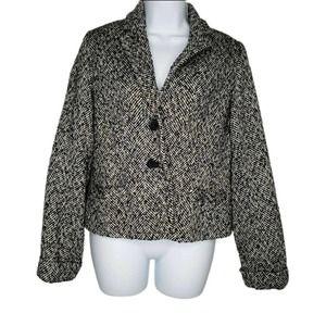 J Crew Black White Tweed Blazer Suit Jacket Size 8